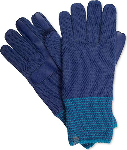 - Isotoner Signature Women's Smart Touch Technology Blue Striped-Cuff Gloves One Size