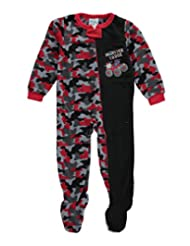 """Mon Petit Little Boys' Toddler """"Monster Truck"""" Footed Pajamas"""