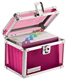 Vaultz Locking 4 x 6 Inch Index Card Box, Pink