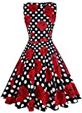 OWIN Women Vintage 1950's Floral Spring Rockabilly Swing Prom Party Cocktail Dress