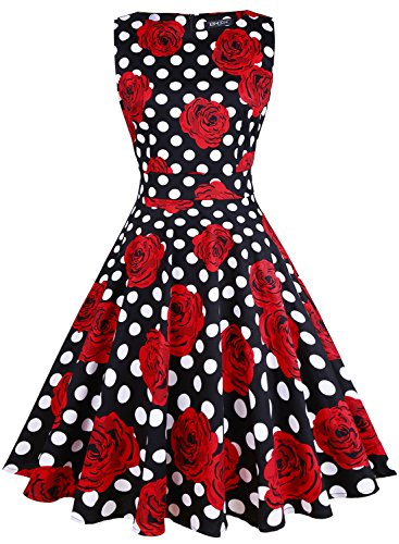 OWIN Women's Vintage 1950's Floral Spring Garden Picnic Dress Party Cocktail Dress (S, Black+Polka dot+Rose)