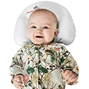 Baby Pillow for Newborns to prevent flat head syndrome (Plagiocephaly) and rolling over. Made of Viscose Memory Foam and comes with 2 Bamboo Pillowcases. Perfect Shower Gift. Bonus Sleep Guide eBook