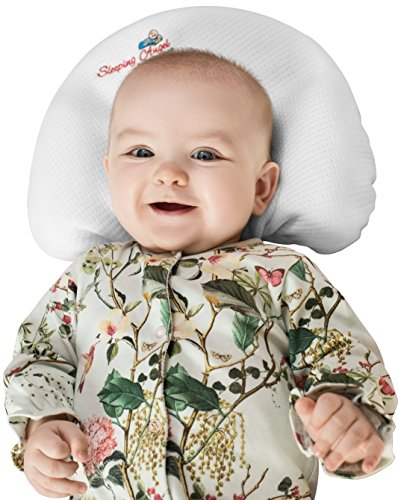 Baby Pillow for Newborns to prevent flat head syndrome (Plagiocephaly)and rolling over. Made of Viscose Memory Foam and comes with 2 Bamboo Pillowcases. Perfect Shower Gift. Bonus Sleep Guide eBook by Sleeping angel for better sleep