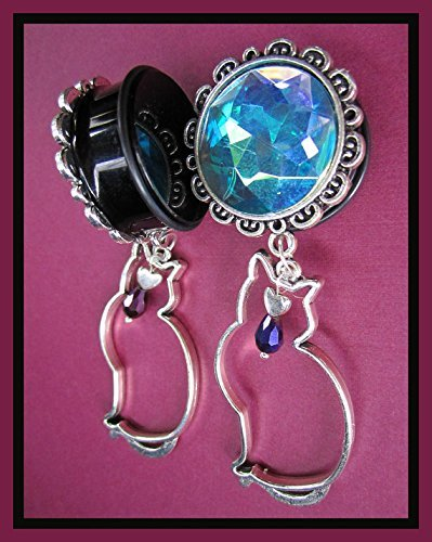 The Cat and the Moon EAR PLUGS gem dangle earrings pick gauge 1/2