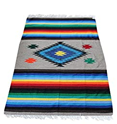 Del Mex Woven Mexican Southwest Large Center Diamond Blanket (Multi-Tan)