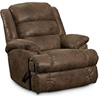 Lane Furniture Knox Collection 8418/4180-21 44 Bigman Rocker Recliner with Faux Leather Upholstery Plush Padded Arms and Casual Style in Shogun