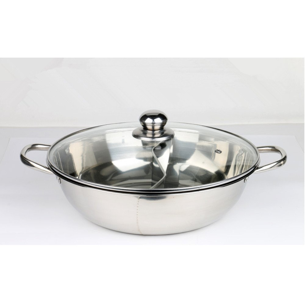 Duck Hot Pot Thick Stainless Steel Pots two-flavor with Glass Cover 30cm xichengshidai
