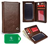 Walmart Family Mobile Alcatel One Touch Fierce Cell Phone -CHOCOLATE BROWN BI FOLD PROTECTIVE PHONE HOLDER PLUS WALLET[ INCLUDES FULL LENGTH BILL SLOT AND CARD INSERTS] UNIVERSAL FIT