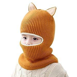 FEOYA Bonnet Echarpe 2 en 1 Bébé Fille Garçon Bonnet Laine Bébé Hiver Cagoule Polaire Bébé Cache Cou Oreille 2-5 Ans Cadeau Noël Bébé 11