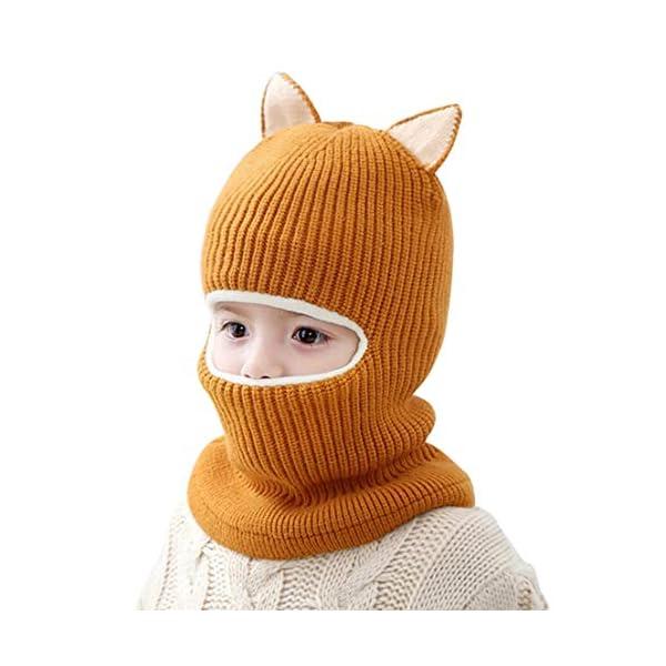 FEOYA Bonnet Echarpe 2 en 1 Bébé Fille Garçon Bonnet Laine Bébé Hiver Cagoule Polaire Bébé Cache Cou Oreille 2-5 Ans Cadeau Noël Bébé 1