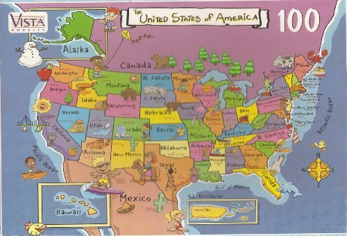 USA Map Puzzle-100 Map Pieces by Map Puzzle-100 of the US Puzzle ...
