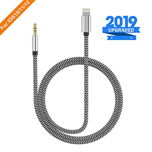 (Apple MFI Certified) iPhone Aux Cable for Car, Lightning to 3.5mm Male Stereo Audio Auxiliary Cord for iPhone X/Xr/Xs Max/8/7/6s Plus Headphones Jack Adapter(3FT)