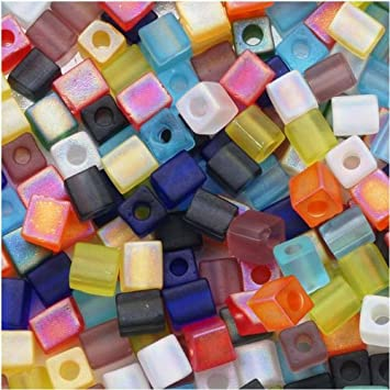color mix  glass cube bead mix  4mm square Miyuki cubes colorful variety   200 beads 992SB
