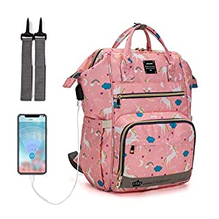 Diaper Bag Backpack, LEQUEEN UnicornMultifunction Travel Back Pack Maternity Baby Changing Bags (Pink)