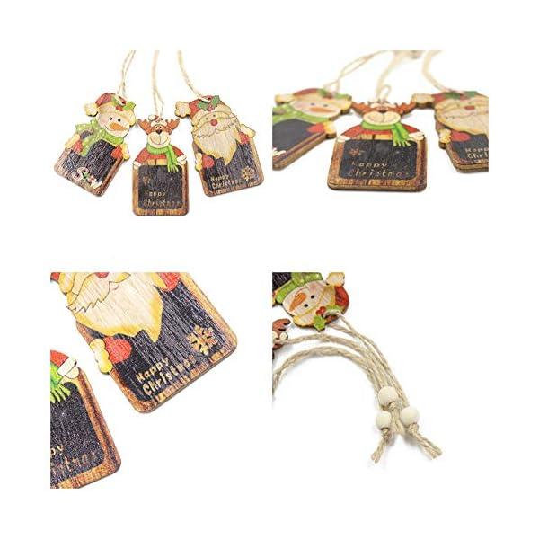 Set di decorazioni per alberi di Natale,12 pezzi in legno carino ornamenti per lavagna con pendente pendente con corde,3 pollici Modello di pupazzo di neve retrò di Babbo Natale per la decorazione 4 spesavip