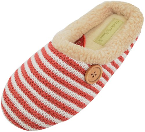Ladies / Womens Knitted Style Mules / Slippers / Indoor Shoes with Button Design Red