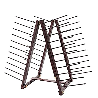 Creative Mark Rue Art Drying Rack, Perfect for Artist Canvas Panels, Paper, Prints, Ladder Style Storage Rack- Mahogany Finish