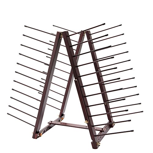 Creative Mark Rue Art Drying Rack, Perfect For Artist Canvas Panels, Paper, Prints, Ladder Style Storage Rack- Mahogany Finish by Rue Easel
