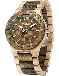 MEKU Mens Wood Wrist Watch Quartz Day Date Wooden Watch Gift (Verawood & Maple)