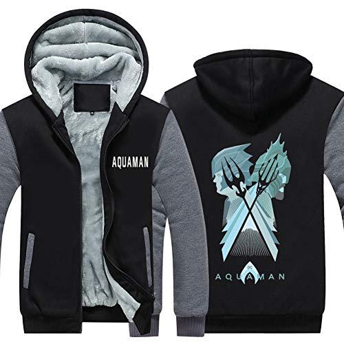 HPY Men's Cosplay Hoodie Costume Sweatshirt AQM Coat Jacket Christmas Halloween, Black+Gray,XL]()