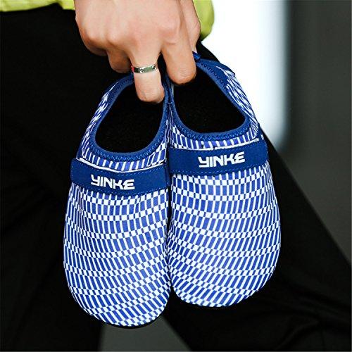 Schuhe Badeschuhe Klettverschluss Aquaschuhe Für Schwimmschuhe Mit Leicht Saguaro Blau Herren Damen Rutschfeste Atmungsaktiv Barfuß Strandschuhe FTqRRA8