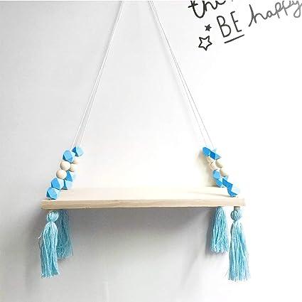 Wood Hanging Shelf Swing Floating Shelves Wall Display Rack Kids Room Decoration