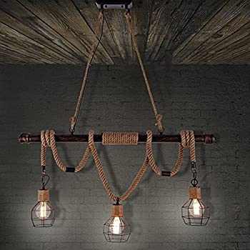 BAYCHEER HL409469 Multi-Light Natural Rope Pendant Lights