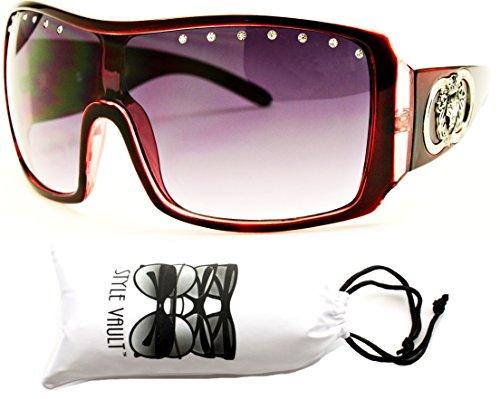 A101-vp Style Vault Lion Logo Aviator Turbo Large Sunglasses (P1064C Red/RhineStone, - Sunglasses Lion