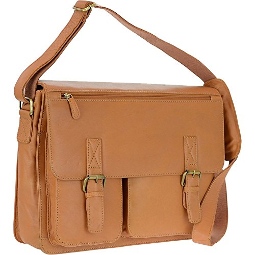 r-r-collections-genuine-leather-flap-messenger-bag-tan