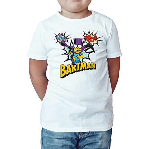 Ned Flanders Simpsons - The Simpsons Bartman Kapow Official Kid's T-Shirt (White) (9-11)