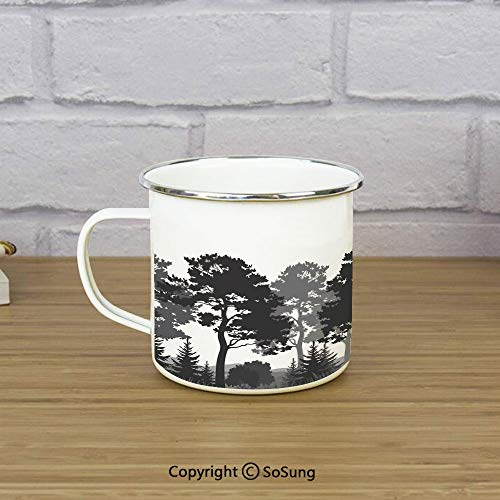 Black and White Decorations Enamel Coffee Mug,Summer Forest Pine and Fir Trees Grass Bush Silhouettes Decorative,11 oz Practical Cup for Kitchen, Campfire, Home, TravelBlack Grey White