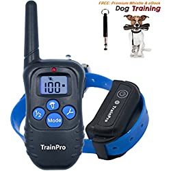 TrainPro PRO998 Electronic Dog Training 330-Yard Rechargeable Waterproof e-Collar System for One Dog with eBook and Whistle, 3.0 Version, Blue