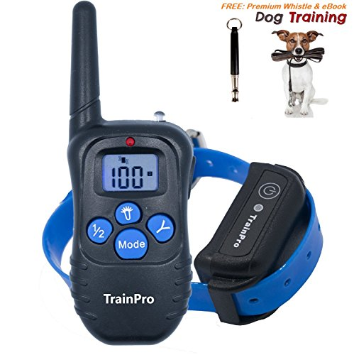 TrainPro PRO998 Electronic Dog Training 330-Yard Rechargeable Waterproof e-Collar System for One Dog with eBook and Whistle, 3.0 Version, Blue (Halloween Safety Tips From Police)