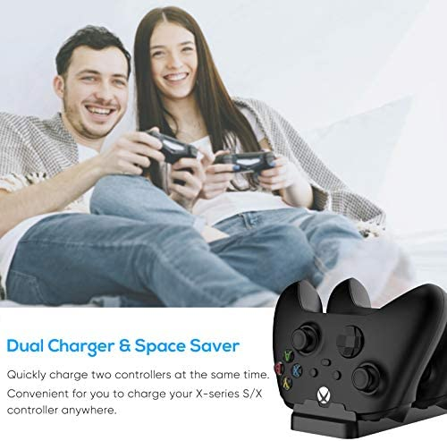 Controller Charging Dock for Xbox Series X, Xbox Series S, Xbox-one S and Xbox-one X with 800mAh Battery Pack and Battery Cover, MENEEA Dual Charger Stand Station Accessories with Charging Cable