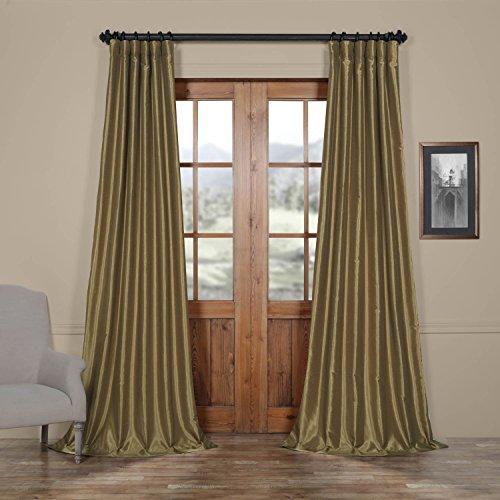 HPD HALF PRICE DRAPES Half Price Drapes PDCH-KBS19-96 Vintage Textured Faux Dupioni Silk Curtain, 50 x 96, Warm Stone - Pleated Panel