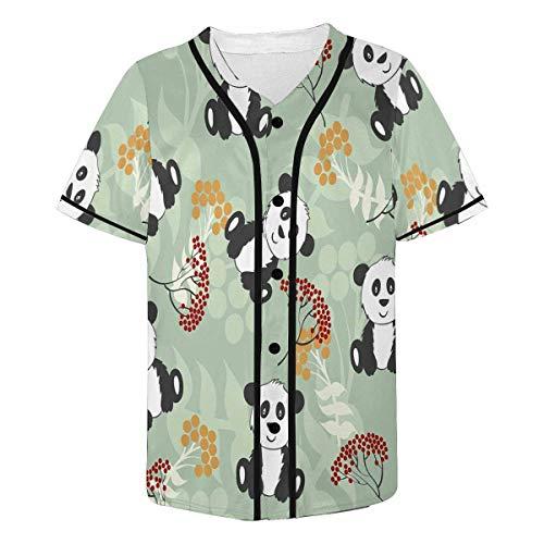 INTERESTPRINT Men's Panda Baseball Jersey Button Down T Shirts - Panda Baseball Jersey