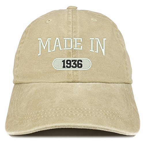 Trendy Apparel Shop Made in 1936 Embroidered 83rd Birthday Washed Baseball Cap - Khaki ()
