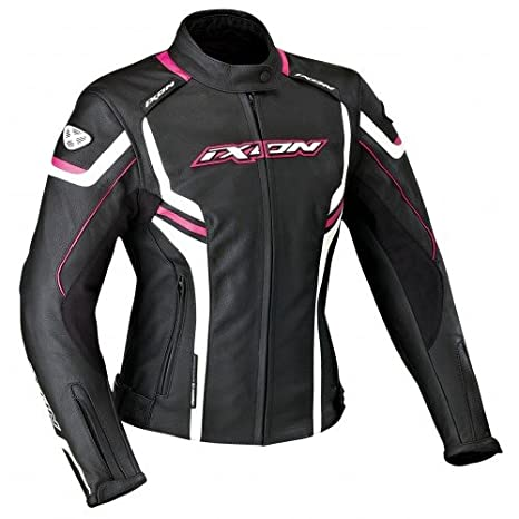 Ixon - Chaqueta Moto - Ixon stunter Lady Negro/Blanco/Fucsia: Amazon.es: Coche y moto