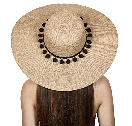 The Chic Soul Pom Pom Floppy Sun Straw Beach Hat (Black Poms)