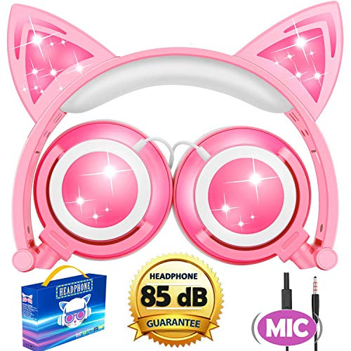 Cat Headphones, Kids Cat Ear Headphones with Microphone 85dB Volume Control,Kids Headphones with Lights Up Foldable Wired Over/On for Girls Boys School Outdoor Travel Musical Audio Gifts, Pink