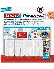 Tesa Powerstrips Vario-gordijnhaken, zelfklevende gordijnhaken, verwijderbaar en herbruikbaar, belastbaar tot 1 kg, wit, 1 x 4 stuks