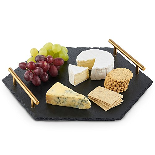 VonShef Natural Slate Cheese Tapas Serving Tray with Brushed Gold Handles, 12 Inches x 13.8 Inches