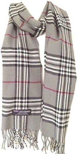100% Authentic Real Cashmere Super Soft Gray Plaid Scarf - Unisex (Men/Women) - 12