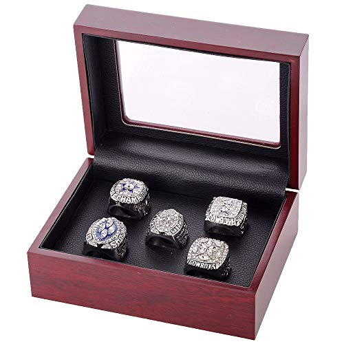 Budazo Men's Super Bowl Dallas Cowboys Full Set Championship Rings,Silver,Size 9