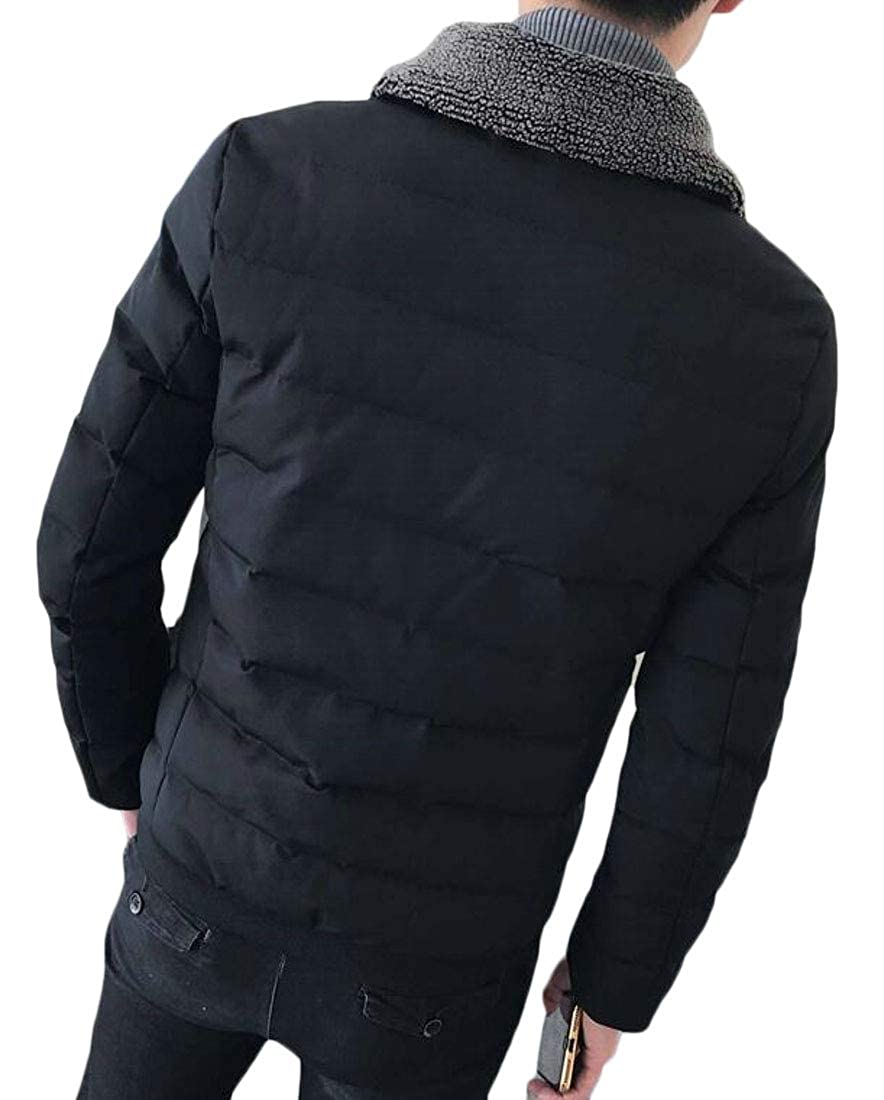 ouxiuli Mens Warm Quilted Jacket Cotton-Padded Zipper Coat Jacket Outwear