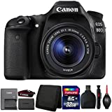 Canon EOS 80D DSLR Camera with 18-55mm Lens and Accessory Bundle