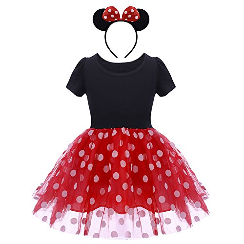 Toddler Baby Girls Polka Dots Princess Costume Christmas Birthday Party Dress up with Mouse Ears Headband 2PCS Set Children Halloween Carnival Dance Fancy Dress for Kids Cospla Red 2-3 Years