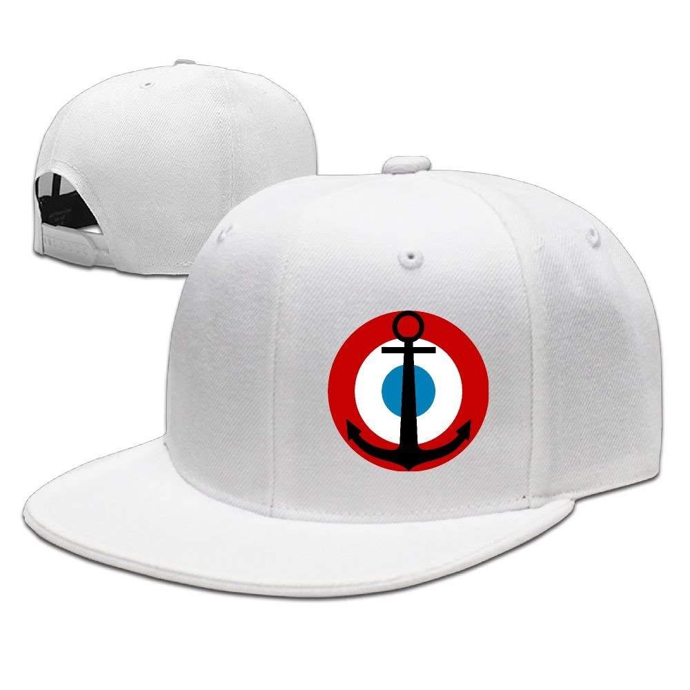 Red Black Round Anchor Unisex Snapback Adjustable Flat Bill Baseball Cap