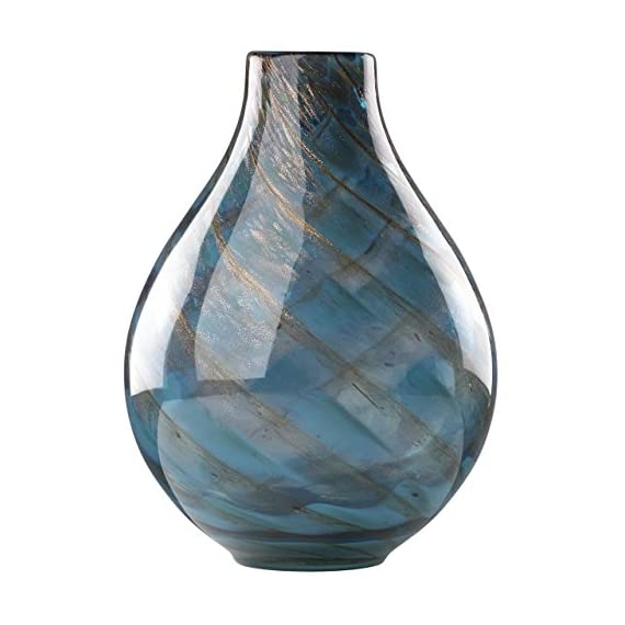 Lenox Seaview Swirl Bottle Vase - Hand wash only Crafted of art glass Height of 11 inches - vases, kitchen-dining-room-decor, kitchen-dining-room - 519FE2qw9bL. SS570  -