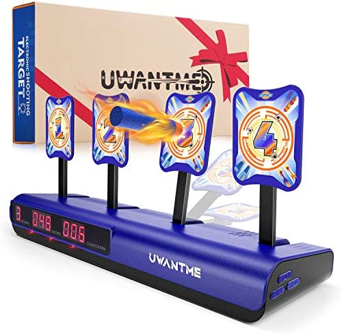 UWANTME Electronic Shooting Target Scoring Auto Reset Digital Targets for Nerf Guns Toys, Ideal Gift Toy for Kids-Boys & Girls